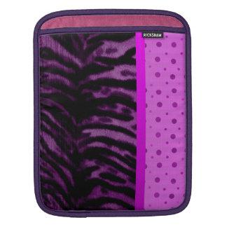 Grunge Purple Tiger Stripes and Pink Polka Dots iPad Sleeve