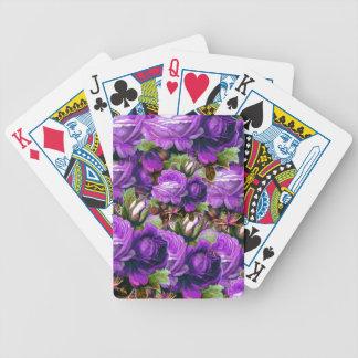 Grunge púrpura brillante de los rosas del vintage baraja de cartas
