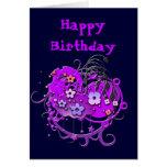 Grunge púrpura de la flor adaptable tarjeton