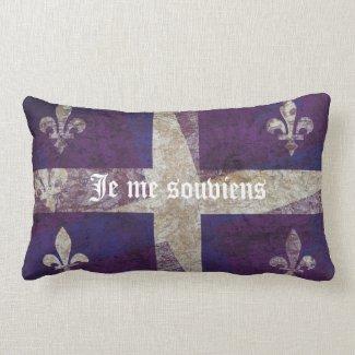 Grunge Quebec flag - Je me souviens Throw Pillows