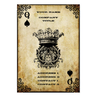 Grunge Queen of Spades Large Business Cards (Pack Of 100)