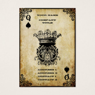 Grunge Queen of Spades Business Card