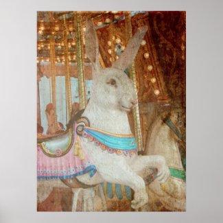 Grunge Rabbit Merry-Go-Round print