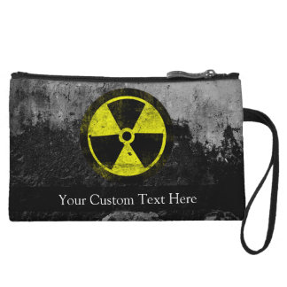 Grunge Radioactive Symbol Wristlet Clutch