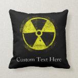 Grunge Radioactive Symbol Throw Pillow