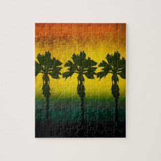 Grunge Rainbow Palm trees Puzzles