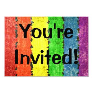 Grunge Rainbow Stripes Card