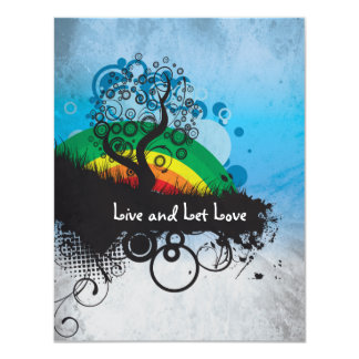 Grunge Rainbow Tree Customizable Card
