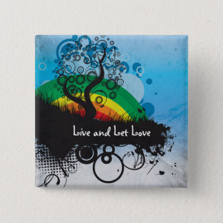 Grunge Rainbow Tree Customizable Pinback Button