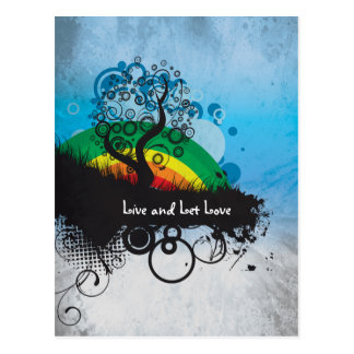 Grunge Rainbow Tree Customizable Postcard