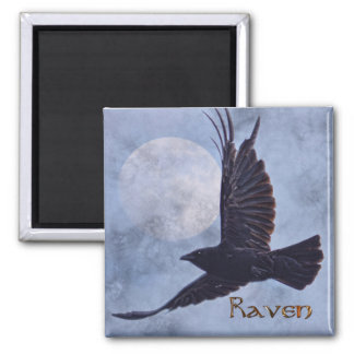 Grunge Raven & Moon Lt Blue Art Design Magnet