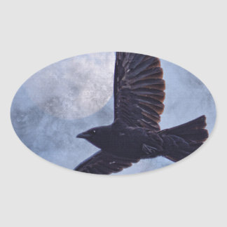 Grunge Raven & Moon Lt Blue Art Design Oval Sticker