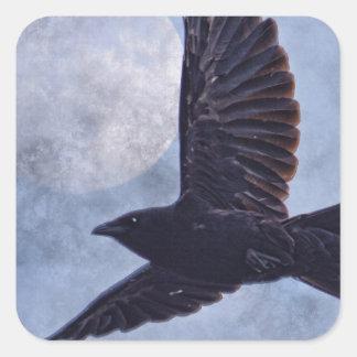 Grunge Raven & Moon Lt Blue Art Design Square Sticker