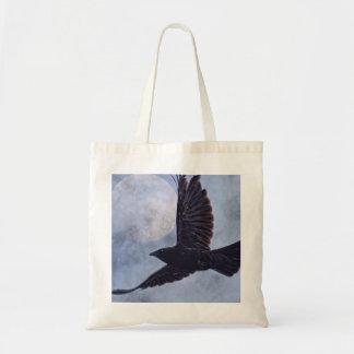 Grunge Raven & Moon Lt Blue Art Design Tote Bag