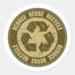 Grunge reciclado etiqueta redonda