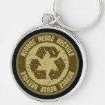 Grunge reciclado llaveros personalizados