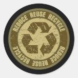 Grunge reciclado pegatina redonda