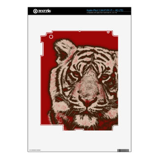 Grunge Red Abstract Tiger iPad 3 Decals