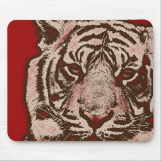 Grunge Red Abstract Tiger Mouse Pad