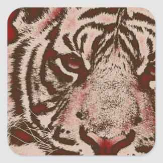 Grunge Red Abstract Tiger Square Sticker