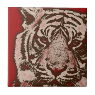 Grunge Red Abstract Tiger Tile