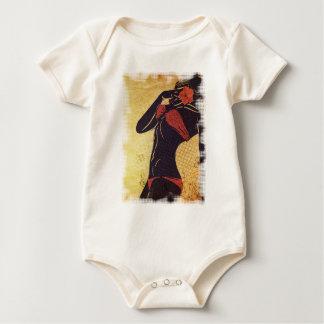 Grunge red bikini detailed silhouette2 baby bodysuit