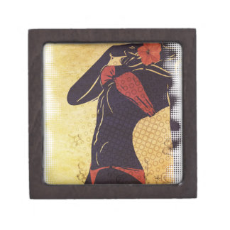 Grunge red bikini detailed silhouette2 gift box