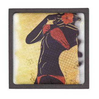 Grunge red bikini detailed silhouette2 jewelry box