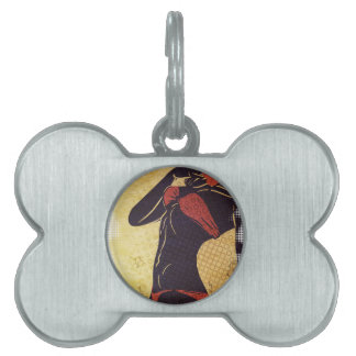 Grunge red bikini detailed silhouette2 pet ID tag