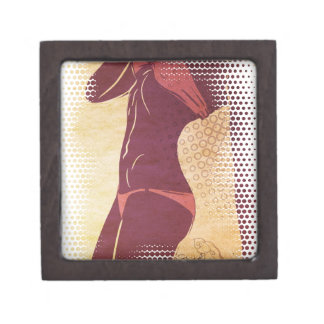 Grunge red bikini detailed silhouette gift box