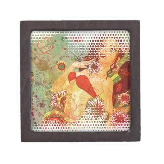 Grunge red bikini girl on floral background gift box