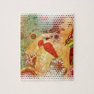 Grunge red bikini girl on floral background jigsaw puzzle