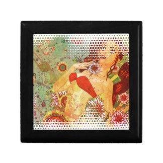 Grunge red bikini girl on floral background keepsake box