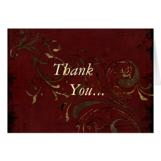 Grunge Red Black w Floral Scrolls- Thank You Note Card