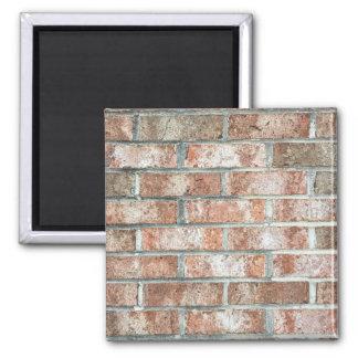 Grunge Red Brick Wall Brown Bricks Background Tan 2 Inch Square Magnet