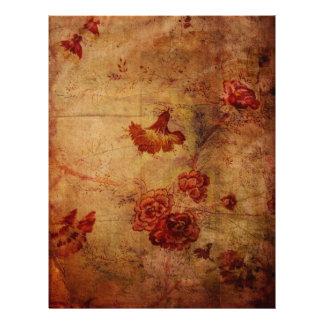 Grunge Red Carnation Wallpaper Pattern Scrapbook P Letterhead