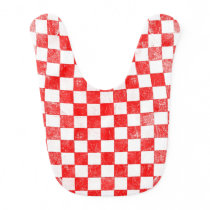 Grunge red checkered, abstract background baby bib