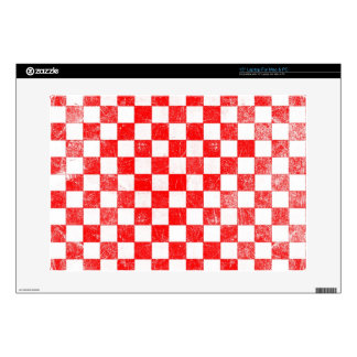 Grunge red checkered, abstract background decal for laptop