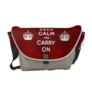 Grunge Red & KHAKI KEEP CALM AND CARRY ON Messenger Bag