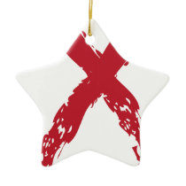 Grunge Red Ribbon Ceramic Ornament