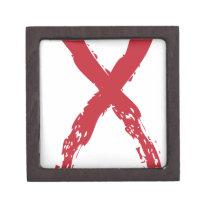 Grunge Red Ribbon Keepsake Box