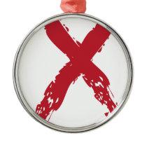 Grunge Red Ribbon Metal Ornament