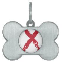 Grunge Red Ribbon Pet ID Tag