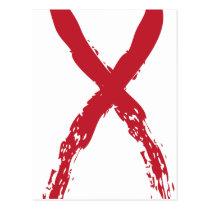 Grunge Red Ribbon Postcard