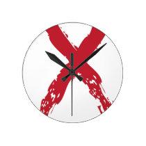 Grunge Red Ribbon Round Clock