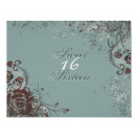 "Grunge Red Rose Sweet 16 Birthday Party Invitation 4.25"" X 5.5"" Invitation Card"