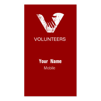 Grunge Red Volunteers Double-Sided Standard Business Cards (Pack Of 100)