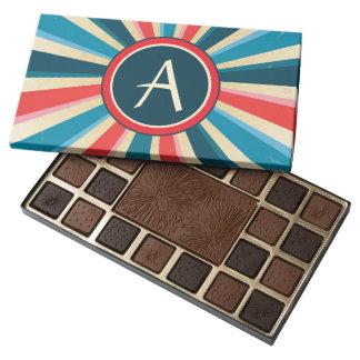 Grunge Red White and Blue Sunburst with Monogram 45 Piece Box Of Chocolates
