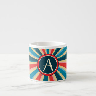 Grunge Red White and Blue Sunburst with Monogram Espresso Cup