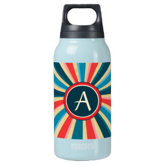 Grunge Red White and Blue Sunburst with Monogram Insulated Water Bottle